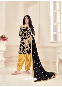 Black Heavy Designer Wedding Wear Velvet Punjabi Patiala Suit