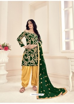 Dark Green Heavy Designer Wedding Wear Velvet Punjabi Patiala Suit