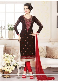 Aspiring Embroidered Work Brown Faux Georgette Churidar Designer Suit