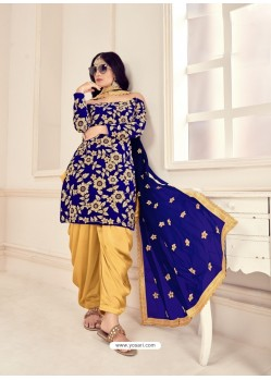 Royal Blue Heavy Designer Wedding Wear Velvet Punjabi Patiala Suit