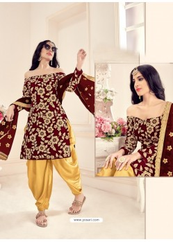 Maroon Heavy Designer Wedding Wear Velvet Punjabi Patiala Suit