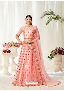 Peach Ravishing Heavy Embroidered Designer Wedding Wear Lehenga Choli
