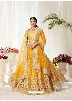Yellow Ravishing Heavy Embroidered Designer Wedding Wear Lehenga Choli