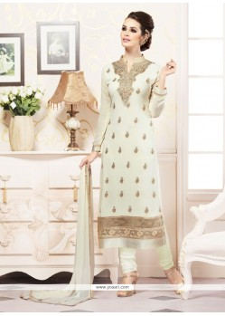 Prepossessing Faux Georgette Off White Resham Work Churidar Designer Suit