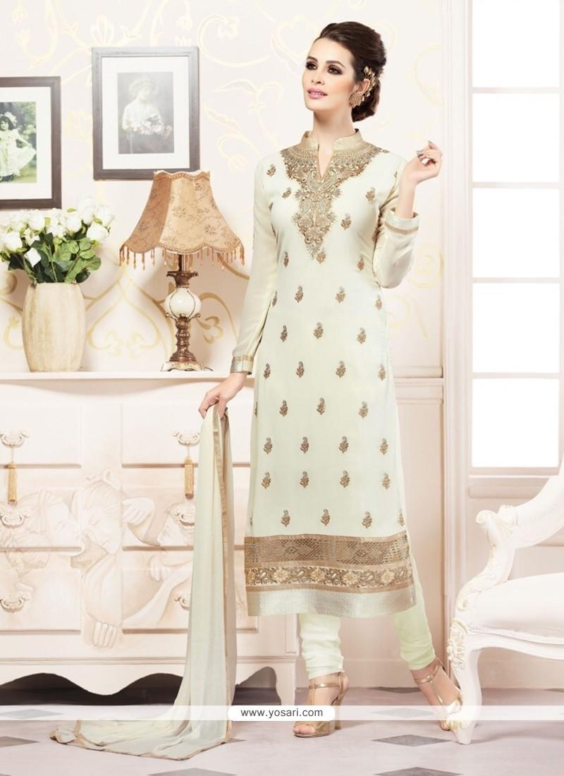 Prepossessing Faux Georgette Off White Resham Work Churidar Designer Suit