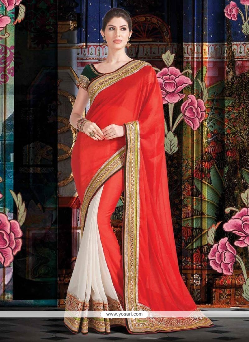 Extraordinary Red And White Silk Chiffon Saree