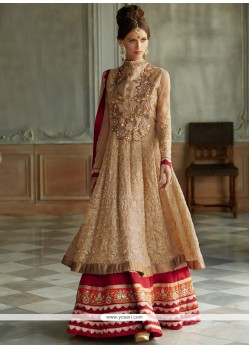 Genius Beige And Red Resham Anarkali Suits