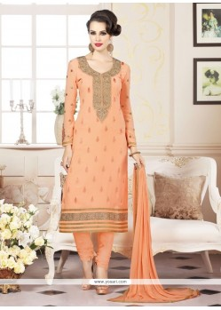 Orange Faux Georgette Churidar Designer Suit