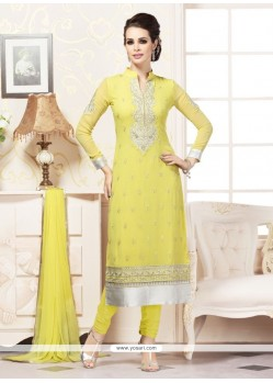 Beauteous Yellow Churidar Designer Suit
