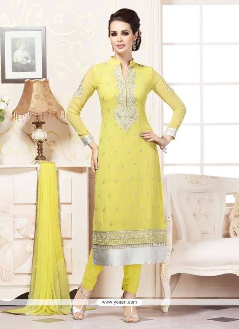 Beauteous Yellow Churidar Designer Suit