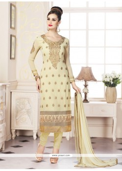 Classical Embroidered Work Cream Churidar Designer Suit
