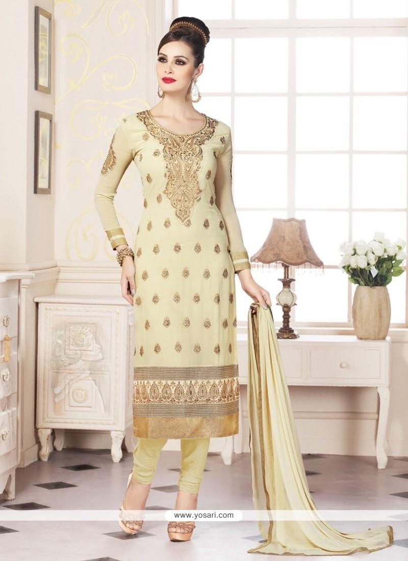 Classical Embroidered Work Cream Churidar Designer Suit