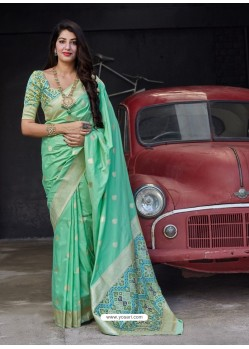 Sea Green Stylish Designer Party Wear Silk Sari