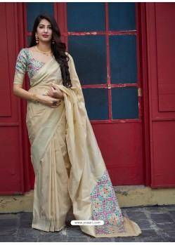 Light Beige Stylish Designer Party Wear Silk Sari