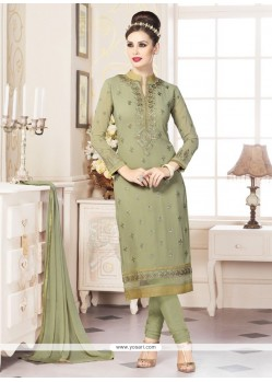 Integral Embroidered Work Faux Georgette Churidar Designer Suit