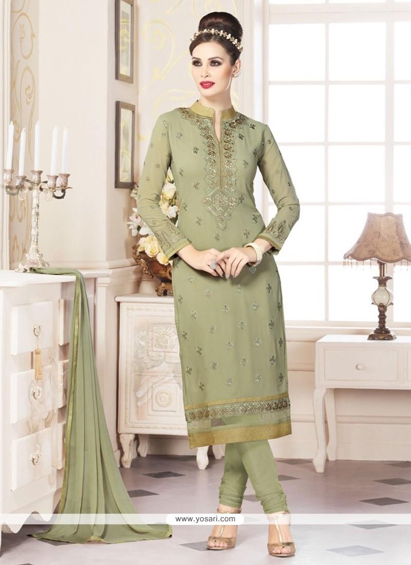 Integral Embroidered Work Faux Georgette Churidar Designer Suit
