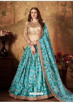 Turquoise Radiant Heavy Embroidered Designer Party Wear Lehenga