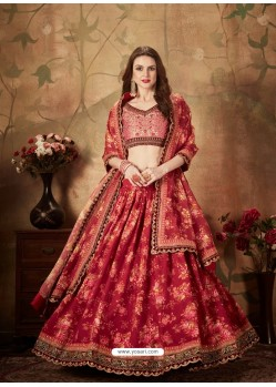 Maroon Radiant Heavy Embroidered Designer Party Wear Lehenga