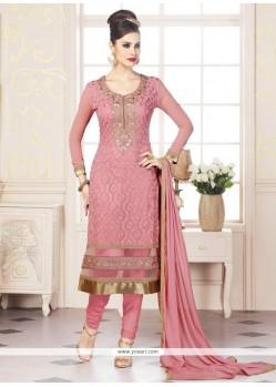 Flattering Pink Resham Work Churidar Designer Suit