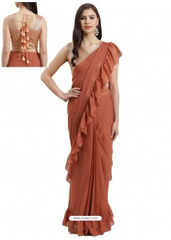 Rust Designer Party Wear Sari With Readymade Blouse