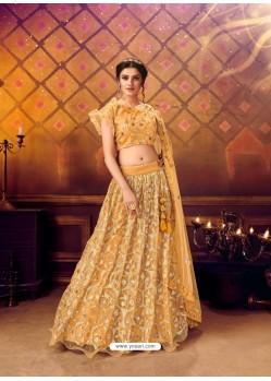 Mustard Gorgeous Heavy Embroidered Designer Wedding Wear Lehenga Choli
