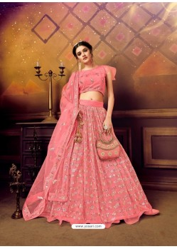 Pink Gorgeous Heavy Embroidered Designer Wedding Wear Lehenga Choli