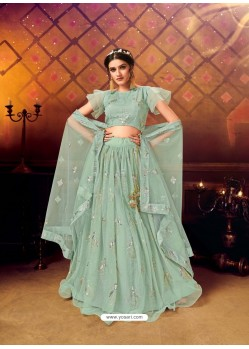 Sea Green Gorgeous Heavy Embroidered Designer Wedding Wear Lehenga Choli