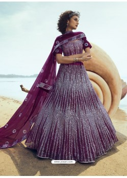Purple Ravishing Heavy Embroidered Designer Wedding Wear Lehenga Choli