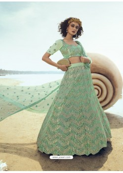 Sea Green Ravishing Heavy Embroidered Designer Wedding Wear Lehenga Choli
