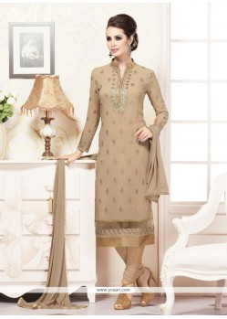 Voluptuous Faux Georgette Brown Embroidered Work Churidar Designer Suit