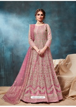 Pink Mesmeric Designer Party Wear Net Gown Style Anarkali Suit