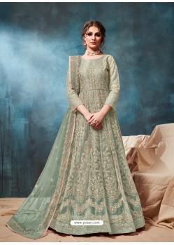 Grayish Green Mesmeric Designer Party Wear Net Gown Style Anarkali Suit