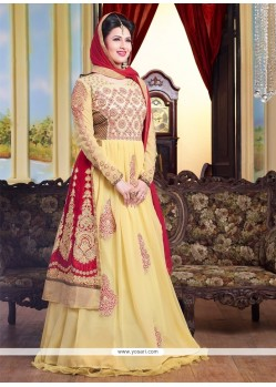 Luxurious Yellow Resham Work Floor Length Anarkali Suit