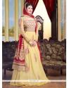 Luxurious Yellow Resham Work Floor Length Anarkali Suit