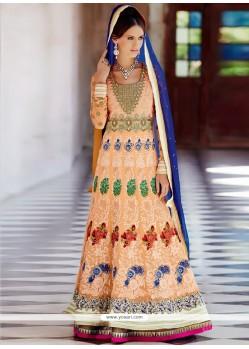 Galvanizing Peach Pure Georgette Anarkali Salwar Kameez