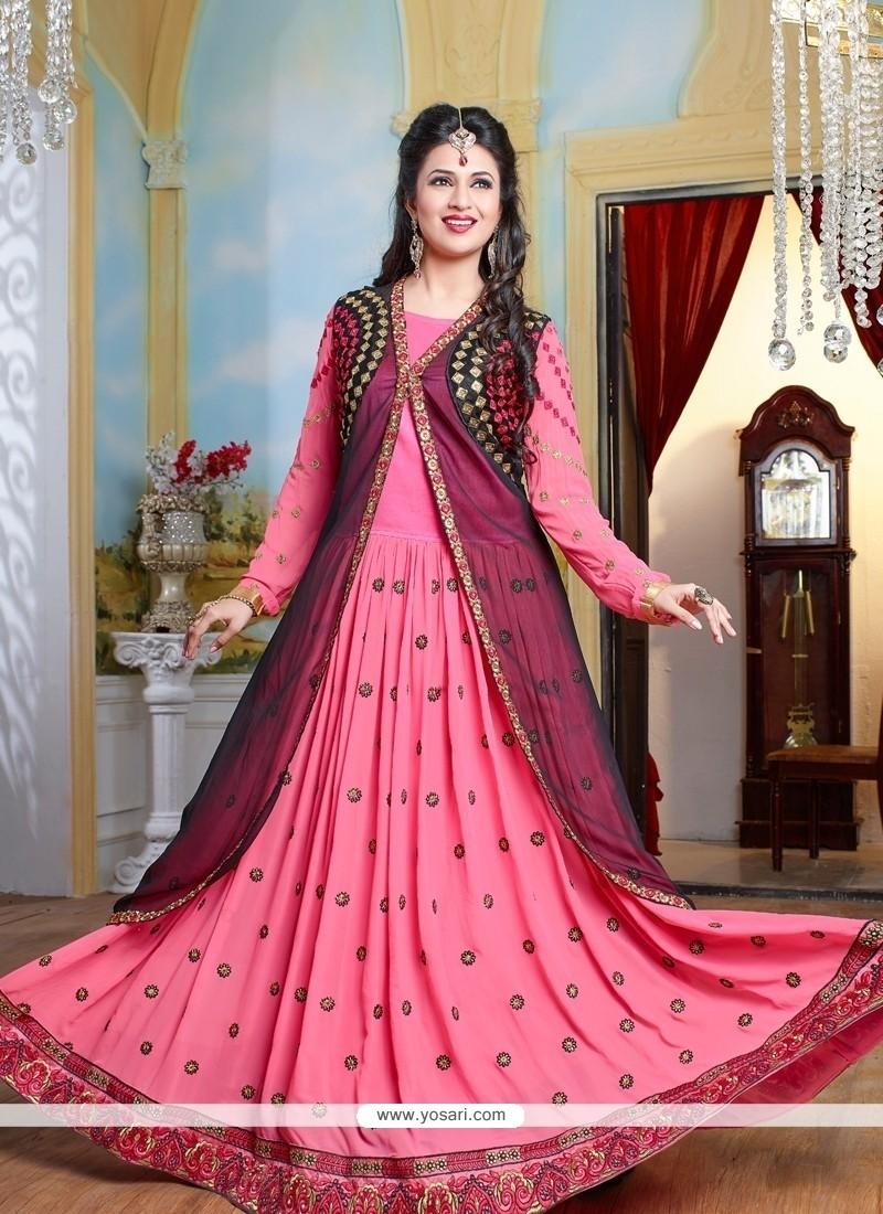 Alluring Embroidered Work Georgette Floor Length Anarkali Salwar Suit