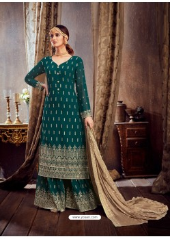 Teal Designer Pure Georgette Party Wear Palazzo Suit
