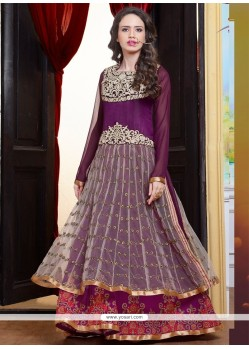 Thrilling Zari Work Georgette Cream And Purple Anarkali Salwar Suit