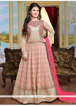Staring Patch Border Work Cream And Hot Pink Anarkali Salwar Kameez