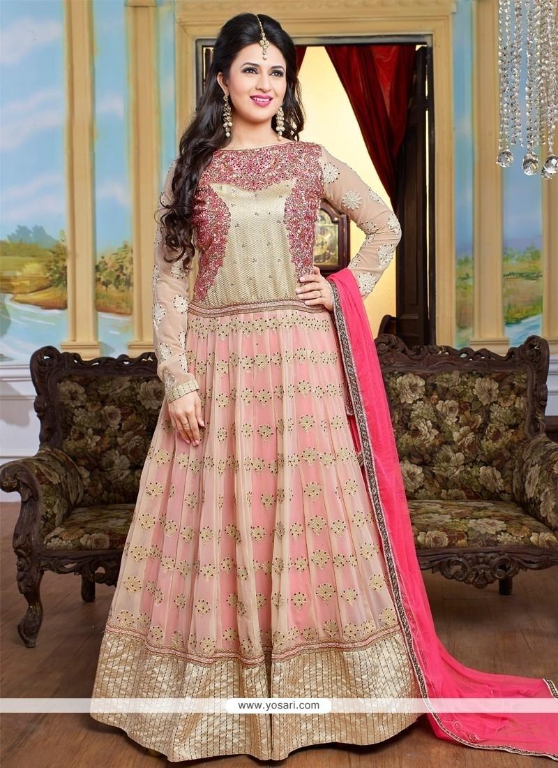 Staring Patch Border Work Cream And Hot Pink Anarkali Salwar Kameez
