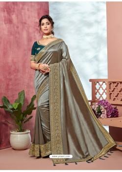 Silver Heavy Designer Party Wear Vichitra Sari