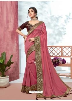 Old Rose Heavy Designer Party Wear Vichitra Sari