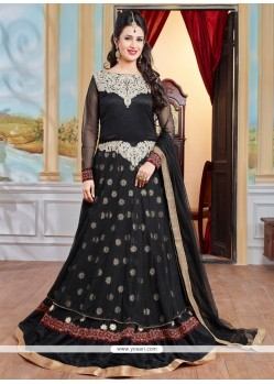 Versatile Georgette Black Designer Floor Length Suit