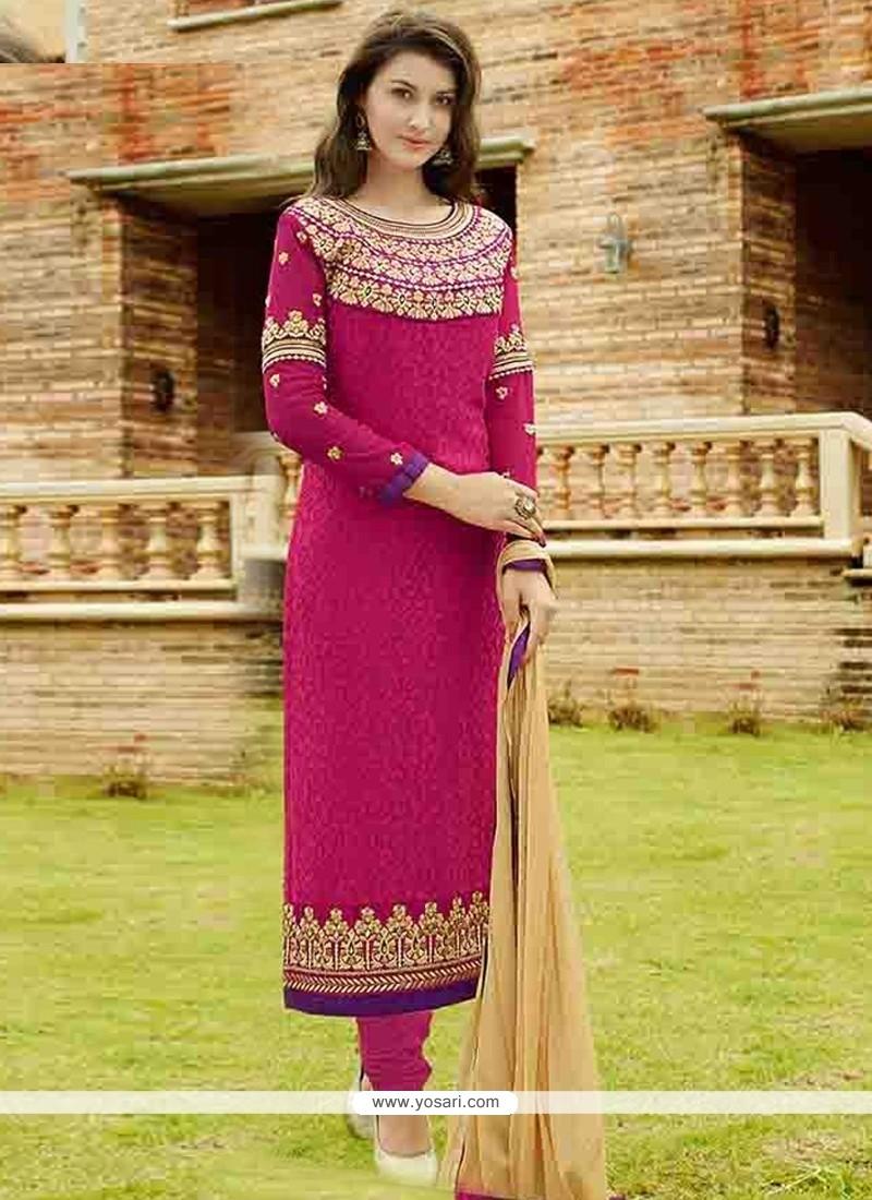 Spellbinding Brasso Hot Pink Lace Work Designer Straight Salwar Kameez