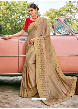 Beige Stylish Party Wear Embroidered Designer Wedding Sari