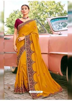 Mustard Stylish Party Wear Embroidered Designer Wedding Sari