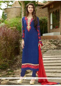 Staggering Blue Embroidered Work Designer Straight Salwar Kameez