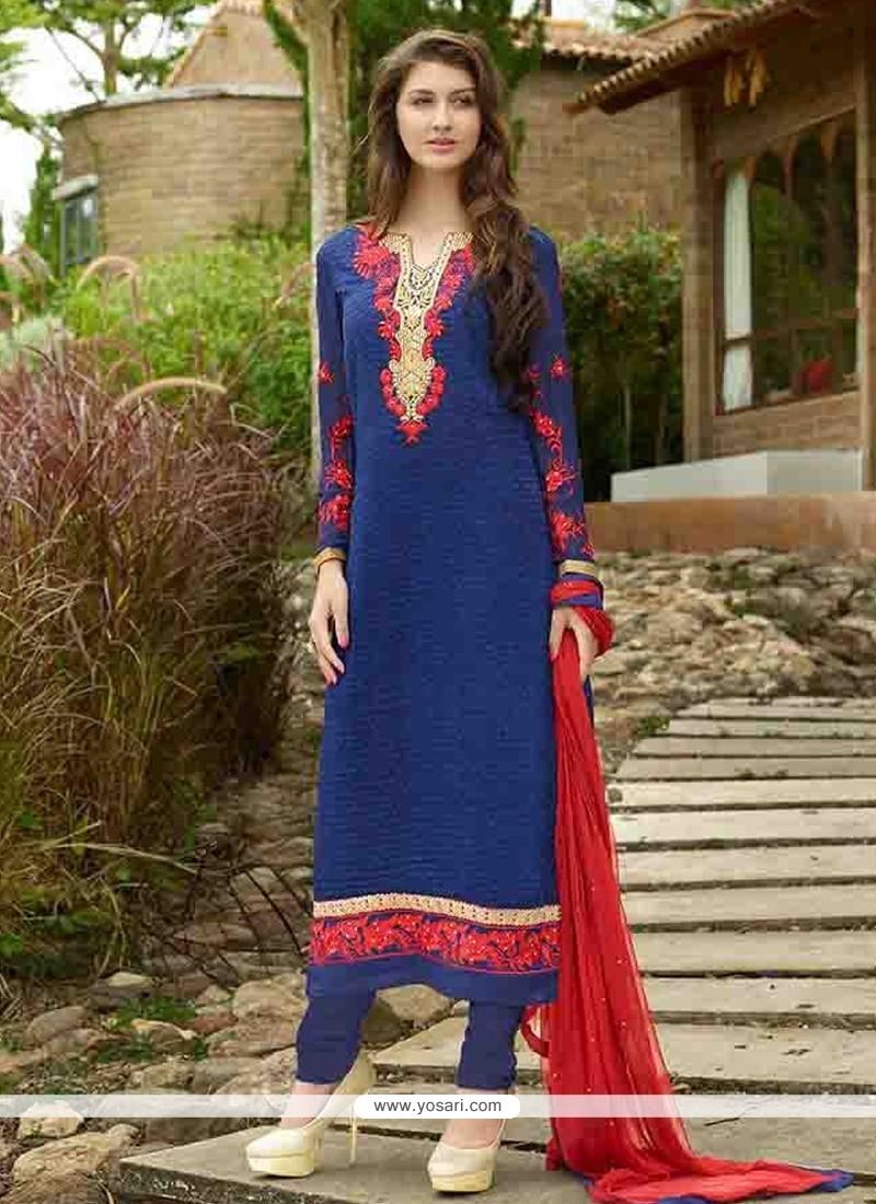 Staggering Blue Embroidered Work Designer Straight Salwar Kameez