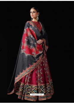 Maroon Stylish Designer Party Wear Pure Killer Silk Lehenga