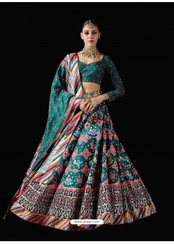 Teal Stylish Designer Party Wear Pure Killer Silk Lehenga